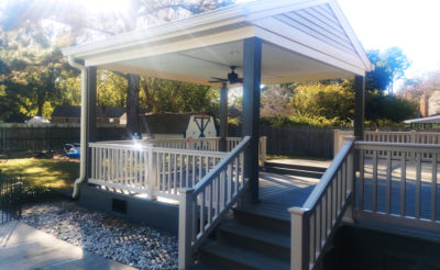composite deck with covered pavilion